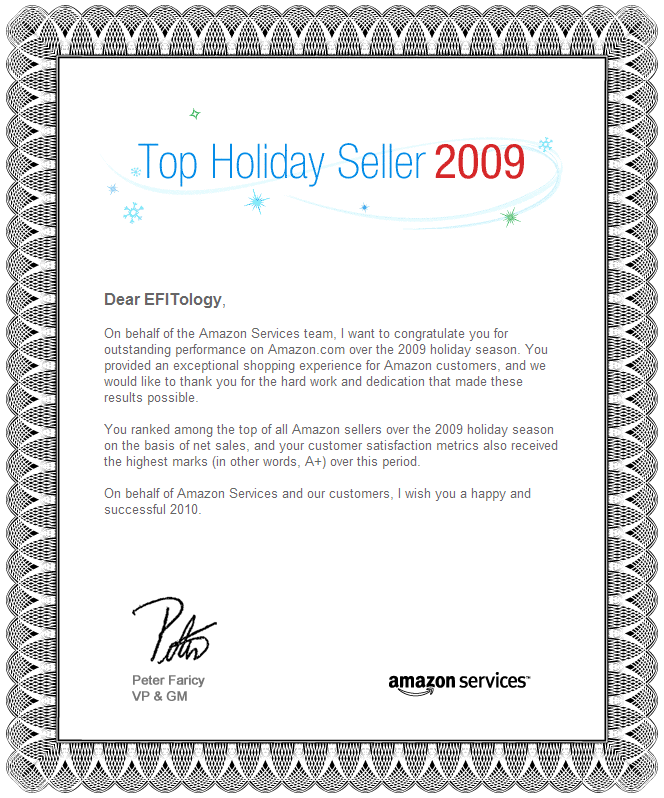 eFITology Top Amazon Holiday Seller For 2009
